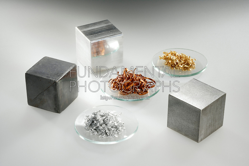 METALS AND NONMETALS<br /> (Variations Available)<br /> Group of Metals<br /> Clockwise from Left- Lead Aluminum, Gold, Iron, Silver. Center -Copper