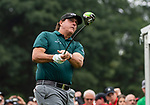 CROMWELL, CT. 20 June 2019-062019 - PGA Tour player Phil Mickelson watches his tee shot on the first hole as he starts his round, during the first round of the Travelers Championship at TPC River Highlands in Cromwell on Thursday. Bill Shettle Republican-American