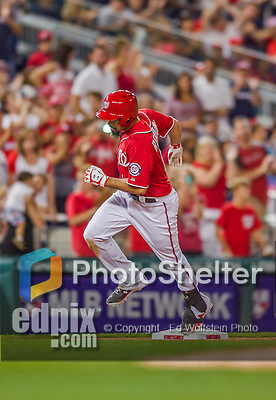 22 August 2015: Washington Nationals infielder Anthony Rendon rounds third base after hitting a solo home run against the Milwaukee Brewers at Nationals Park in Washington, DC. The Nationals defeated the Brewers 6-1 in the second game of their 3-game weekend series. Mandatory Credit: Ed Wolfstein Photo *** RAW (NEF) Image File Available ***