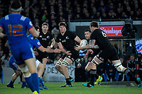 NZ's Scott Barrett passes to NZ's Liam Squire during the Steinlager Series international rugby match between the New Zealand All Blacks and France at Eden Park in Auckland, New Zealand on Saturday, 9 June 2018. Photo: Dave Lintott / lintottphoto.co.nz