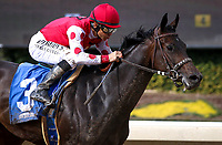 ARCADIA, CA MARCH 3: #3 Midnight Bisou with Mike Smith running away in the Santa Ysabel Stakes (Grade III) on March 3, 2018 at Santa Anita Park in Arcadia, CA (Photo by Chris Crestik/ Eclipse Sportswire/ Getty Images)