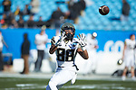 Steven Claude (88) of the Wake Forest Demon Deacons warms up prior to the game against the Texas A&M Aggies at Bank of America Stadium on December 29, 2017 in Charlotte, North Carolina.  The Demon Deacons defeated the Aggies 55-52.  (Brian Westerholt/Sports On Film)