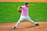 """18 July 2010: Vermont Lake Monsters pitcher Ryan Demmin on the mound against the Staten Island Yankees at Centennial Field in Burlington, Vermont. The Lake Monsters, dressed in their Breast Cancer Awareness """"Pinks"""", fell to the Yankees 9-5 in NY Penn League action. Mandatory Credit: Ed Wolfstein Photo"""