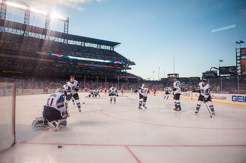 27 FEBRUARY 2016:      Colorado Avalanche and Detroit Red Wings players warm up before a NHL Stadium Series game between the Red Wings an Avalanche at Coors Field in Denver Denver, Colorado.  (Photo by Dustin Bradford/Icon Sportswire)