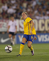 Sweden defender Linda Sembrant (4) passes the ball. The US Women's national team beat Sweden, 3-0, at Rentschler Field on July 17, 2010.