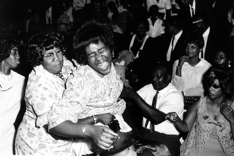 Women at gospel show at Alabama State College, Montgomery Ala, dances to the music. Copyright Jim Peppler/1967. This and over 10,000 other images are part of the Jim Peppler Collection at The Alabama Department of Archives and History:  http://digital.archives.alabama.gov/cdm4/peppler.php