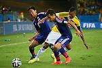 (L to R) <br /> Hiroshi Kiyotake, <br /> Yuto Nagatomo (JPN), <br /> JUNE 24, 2014 - Football /Soccer : <br /> 2014 FIFA World Cup Brazil <br /> Group Match -Group C- <br /> between Japan 1-4 Colombia <br /> at Arena Pantanal, Cuiaba, Brazil. <br /> (Photo by YUTAKA/AFLO SPORT)