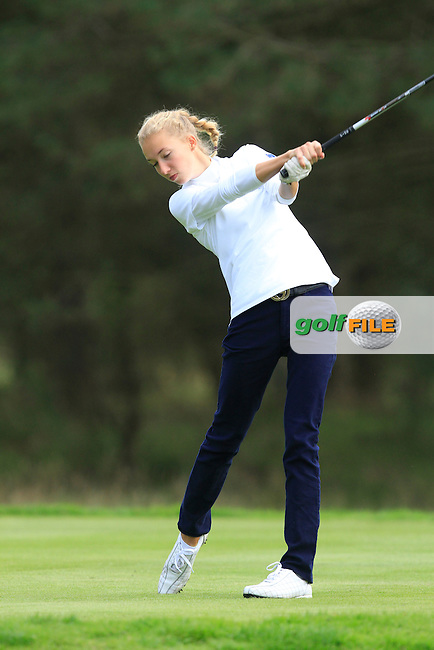 Alexandra Forsterling (GER) on the 6th tee of the Mixed Fourballs, puts to go two up during the 2014 JUNIOR RYDER CUP at the Blairgowrie Golf Club, Perthshire, Scotland. <br /> Picture:  Thos Caffrey / www.golffile.ie