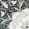 "19"" x 19"" Aurelia, a stone hand-cut mosaic, is shown in Thassos, Afyon White, Allure, Carrara polished."
