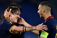 Nicolo Zaniolo of AS Roma celebrates after scoring the goal of 3-0 with Edin Dzeko of AS Roma <br /> Roma 19-9-2019 Stadio Olimpico <br /> Football Europa League 2019/2020 <br /> AS Roma -  Istanbul Basaksehir <br /> Photo Andrea Staccioli / Insidefoto