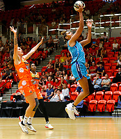29th November 2019; Bendat Basketball Centre, Perth, Western Australia, Australia; Womens National Basketball League Australia, Perth Lynx versus Southside Flyers; Mercedes Russell of the Southside Flyers lays up at the basket - Editorial Use