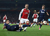 2nd November 2017, Emirates Stadium, London, England; UEFA Europa League group stage, Arsenal versus Red Star Belgrade; Vujadin Savic of Red Star Belgrade slide tackles Jack Wilshere of Arsenal