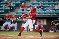 Altoona Curve shortstop Cole Tucker (3) swings at a pitch during a game against the Richmond Flying Squirrels on May 15, 2018 at Peoples Natural Gas Field in Altoona, Pennsylvania.  Altoona defeated Richmond 5-1.  (Mike Janes/Four Seam Images)