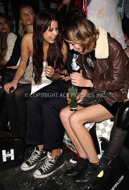 WWW.ACEPIXS.COM . . . . .  ..... . . . . US SALES ONLY . . . . .....September 19 2009, London....Peaches Geldof and Alexa Chung at London Fashion Week on September 19 2009 in London......Please byline: FAMOUS-ACE PICTURES... . . . .  ....Ace Pictures, Inc:  ..tel: (212) 243 8787 or (646) 769 0430..e-mail: info@acepixs.com..web: http://www.acepixs.com