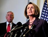 United States House Speaker Nancy Pelosi (Democrat of California) makes a statement following the meeting where U.S. House Democrats selected their leadership for the 112th Congress in Washington, D.C. on Wednesday, November 17, 2010.  Pelosi will serve as the U.S. House Democratic Leader in the new Congress.  At left is U.S. House Majority Leader Steny Hoyer (Democrat of Maryland), who will serve as Democratic Whip in the new Congress..Credit: Ron Sachs / CNP