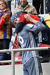 14.04.2019, Merkur Spielarena, Duesseldorf , GER, 1. FBL,  Fortuna Duesseldorf vs. FC Bayern Muenchen,<br />  <br /> DFL regulations prohibit any use of photographs as image sequences and/or quasi-video<br /> <br /> im Bild / picture shows: <br /> Leon Goretzka (Bayern Muenchen #18), geht nach dem Spiel  zu den Zuschauern.. und verschenkt sein Trikot <br /> <br /> Foto © nordphoto / Meuter