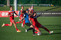 Kansas City, MO - Saturday May 27, 2017: Mallory Pugh, Shea Groom, Shelina Zadorsky during a regular season National Women's Soccer League (NWSL) match between FC Kansas City and the Washington Spirit at Children's Mercy Victory Field.