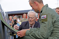 "Lt. Gen. Wilhelm Mohr, most notably known for being a Spitfire pilot during WWII in the ""The North Weald Wing"" 1941-1945, sign the Spitfire door  after a flight. Norwegian Spitfire Foundation invited Norwegian WWII  Spitfire veterans to fly in Spitfire, at the historical airfield Kjeller in Norway."