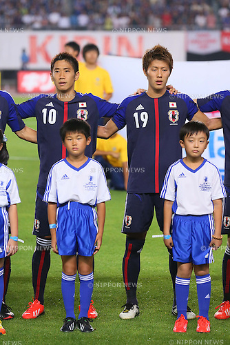 (L-R) Shinji Kagawa, Yoichiro Kakitani (JPN), <br /> AUGUST 14, 2013 - Football / Soccer : <br /> KIRIN Challenge Cup 2013 match <br /> between Japan 2-4 Uruguay <br /> at Miyagi Stadium, Miyagi, Japan.<br />  (Photo by AFLO SPORT)