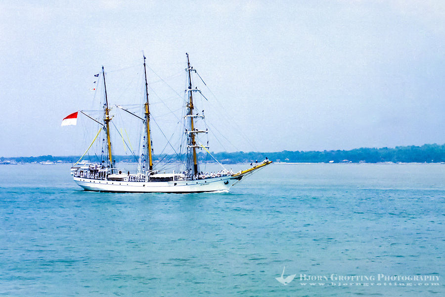 Java, East Java, Surabaya. Navy day in Surabaya. The sail training vessel DEWARUCI, used as a sail training vessel for naval cadets and is the largest tall ship in the Indonesian fleet