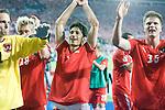Jurgen Macho, Roman Kienast, Ivica Vastic and Sebastian Prödl celebrate the 11 draw against Poland at Euro 2008. Austria-Poland 06122008, Wien, Austria
