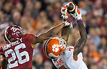 Clemson wide receiver Mike Williams catches a 24 yard pass despite the efforts of Marion Humphrey in the second half of the 2017 College Football Playoff National Championship in Tampa, Florida on January 9, 2017.  Clemson defeated Alabama 35-31. Photo by Mark Wallheiser/UPI