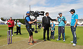 Scotland V England at Mannofield - Aberdeen - One Day International - Scotland capt Kyle Coetzer - watched by England's Alastair Cook and match mascots - tells Sky TV's Mike Atherton that Scotland will bowl - 3rd Umpire Alan Haggo and groundsman Alan Haggo look on - picture by Donald MacLeod - 09.05.14 – 07702 319 738 – clanmacleod@btinternet.com – www.donald-macleod.com
