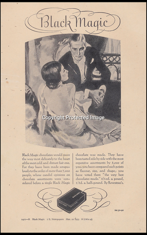 BNPS.co.uk (01202 558833)<br /> Pic: Nestle/BNPS<br /> <br /> A Black Magic advert from 1935 <br /> <br /> Chocolate for the masses!<br /> <br /> A fascinating archive of vintage adverts has emerged and revealed how the humble Black Magic chocolates were the first box that was affordable for all.<br /> <br /> When the famous dark chocolates were launched by Rowntree's in 1933 the company was on the brink of bankruptcy and was desperately trying to save itself from going bust.<br /> <br /> Until then, Rowntree's only sold incredibly fancy boxes of the treats which were in hand decorated cases and cost up to £300 each in today's money.<br /> <br /> When Black Magic hit the shops at just five pounds for the largest box customers were shocked that they were able to buy luxurious chocolates for the first time.<br /> <br /> The enormous success of the budget brand saw people's views of chocolate change from one of extreme wealth and importance to an every day treat for all classes.<br /> <br /> Black Magic grew to become one of the most popular products Rowntree's sold and managed to save 151-year-old business from closing down.<br /> <br /> The success of the now internationally famed box is illustrated in a collection of images that have been released to celebrate its 80 year anniversary.<br /> <br /> Before the delicious treat was invented a box of chocolates would cost 100 shillings, which was the equivalent of 10 weeks worth of rent for a factory worker.