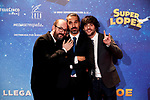 Javier Ruiz Caldera, Dani San Jose and Borja Cobeaga attends to Super Lopez premiere at Capitol cinema in Madrid, Spain. November 21, 2018. (ALTERPHOTOS/A. Perez Meca)