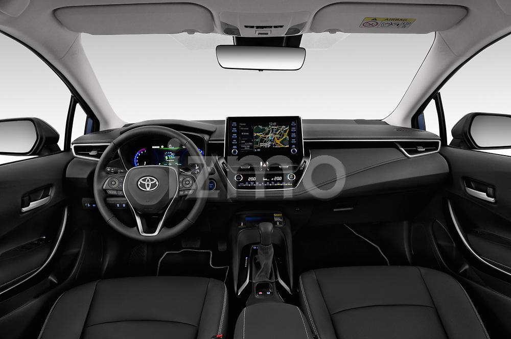 Stock photo of straight dashboard view of a 2019 Toyota Corolla  Premium 4 Door Sedan