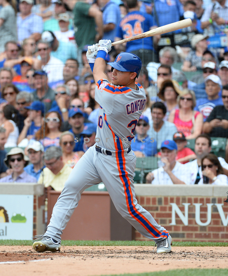 New York Mets Michael Conforto (30) during a game against the Chicago Cubs on July 20, 2016 at Wrigley Field in Chicago, IL. The Cubs beat the Mets 6-2.