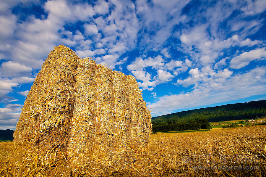 Wide angle shot of a harvested field with a hay bale in the foreground
