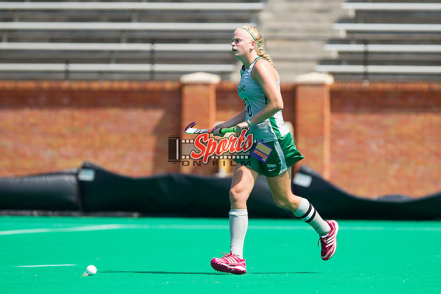 Jesse Ebner (10) of the William & Mary Tribe brings the ball up the field during first half action against the Wake Forest Demon Deacons at Kentner Stadium on September 15, 2013 in Winston-Salem, North Carolina.  The Demon Deacons defeated the Tribe 4-0.  (Brian Westerholt/Sports On Film)