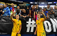 Seattle, WA - Thursday July 27, 2017: Caitlin Foord, Alanna Kennedy celebrate their 1-0 win over USA during a 2017 Tournament of Nations match between the women's national teams of the United States (USA) and Australia (AUS) at CenturyLink Field.