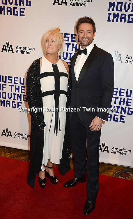 Deborra-Lee Furness and Hugh Jackman attends the Museum of the Moving Image Salute to Hugh Jackman on December 11,2 012 at Cipriani Wall Street in New York City.
