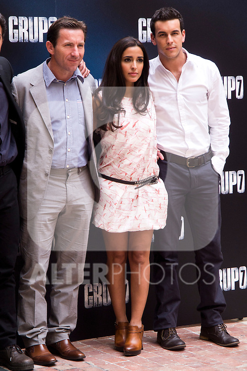 "Presentation at the Intercontinental Hotel in Madrid of the film ""Group 7"" with the presence of the actors Mario Casas, Antonio de la Torre, Inma Cuesta, Jose Manuel Poga, Joaquin Nunez, director Alberto Rodriguez, and producer Jose Antonio Fellez. In the picture: Antonio de la Torre, Inma Cuesta and Mario Casas (MARTA GONZALEZ)"