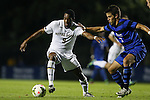 17 October 2014: Notre Dame's Leon Brown (9) and Duke's Jack Coleman (3). The Duke University Blue Devils hosted the Notre Dame University Fighting Irish at Koskinen Stadium in Durham, North Carolina in a 2014 NCAA Division I Men's Soccer match. Notre Dame won the game 4-1.