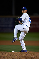 Rancho Cucamonga Quakes relief pitcher Zach Pop (45) delivers a pitch during a California League game against the Lake Elsinore Storm at LoanMart Field on May 19, 2018 in Rancho Cucamonga, California. Lake Elsinore defeated Rancho Cucamonga 10-7. (Zachary Lucy/Four Seam Images)