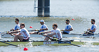 Brandenburg. GERMANY.<br /> GRE M4-.  Bow. Dionysios ANGELOPOULOS, Ioannis TSILIS, Georgios TZIALLAS, Ioannis<br /> CHRISTOU, 2016 European Rowing Championships at the Regattastrecke Beetzsee<br /> <br /> Saturday  07/05/2016<br /> <br /> [Mandatory Credit; Peter SPURRIER/Intersport-images]