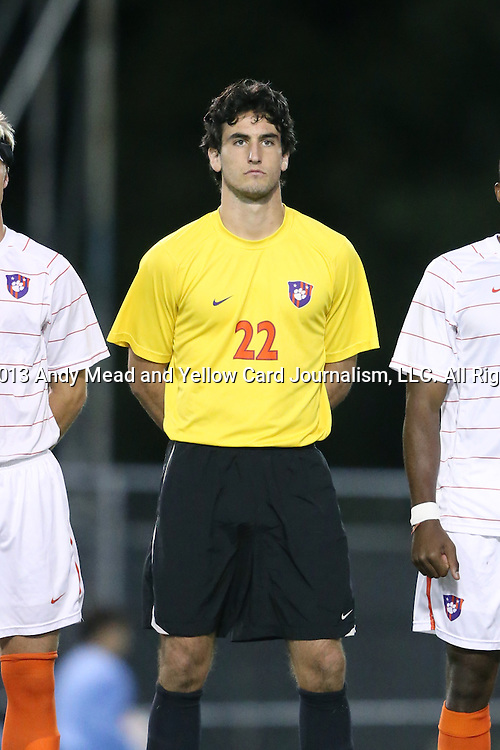08 October 2013: Clemson's Andrew Tarbell. The University of North Carolina Tar Heels hosted the Clemson University Tigers at Fetzer Field in Chapel Hill, NC in a 2013 NCAA Division I Men's Soccer match. Clemson won the game 2-1 in overtime.