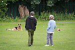 "© Joel Goodman - 07973 332324 . Stockport , UK . GV general view of Manchester Road park after the deer was rescued . The park is popular with dog walkers and local children . A wild deer which was discovered in a park by the busy Manchester Road in Stockport has been rescued after three days . The park was closed and locked by Stockport Council officials on Monday 24th June after the young male started bolting across the playing field and playground and butting its head and antlers against railings . But with the gates locked , the young animal could not escape . For three days local people came out to watch the deer from the fence as it hid in bushes around the edge of the park , occasionally venturing out across the playing pitch and in the direction of the busy A626 road . The landlord at "" The Hind's Head "" pub opposite , Stuart Kirkham , a Manchester United fan , named the beast "" Ronaldo "" because of its red colouring . After three days , with no hope of escape under its own steam and with the park still closed , the RSPCA and council brought in a veterinary surgeon to help . The animal was tranquilised and driven to nearby Reddish Vale Country Park , where he was brought round and released back in to the wild . Photo credit : Joel Goodman"