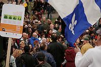 Manif pour sauver le parc du Mont Orford, le 22 avril 2006<br /> <br /> DemonstrationApril 22 2006  in downtown Montreal to save the Orford Park <br /> <br /> Photo : Delphine Descamps / <br /> (c) : 2006, Images Distribution