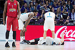 Real Madrid Trey Thompkins, Fabien Causeur and Luka Doncic during Turkish Airlines Euroleague match between Real Madrid and Olympiacos Piraeus at Wizink Center in Madrid , Spain. February 09, 2018. (ALTERPHOTOS/Borja B.Hojas)