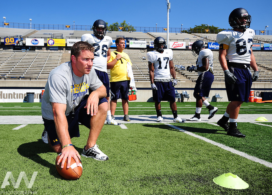 Aug 23, 2012; Toledo, OH, USA; Toledo Rockets wide receiver coach Jason Candle during practice at the Glass Bowl. Mandatory Credit: Andrew Weber-US Presswire