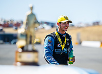 Jul 30, 2017; Sonoma, CA, USA; NHRA pro stock driver Tanner Gray celebrates after winning the Sonoma Nationals at Sonoma Raceway. Mandatory Credit: Mark J. Rebilas-USA TODAY Sports
