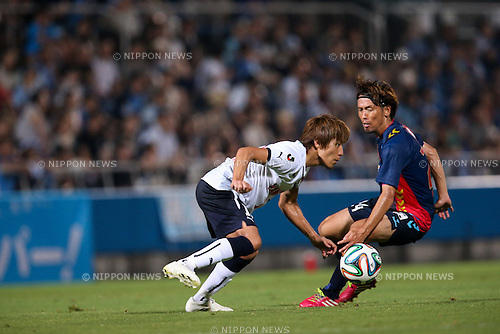 (L to R) <br /> Tomohiko Miyazaki (Jubilo), <br /> Toshihiro Matsushita (Yokohama FC), <br /> JULY 26, 2014 - Football /Soccer : <br /> 2014 J.LEAGUE Division 2 <br /> between Yokohama FC 4-0 Jubilo Iwata <br /> at NHK Spring Mitsuzawa Football Stadium, Kanagawa, Japan. <br /> (Photo by AFLO SPORT) [1205]