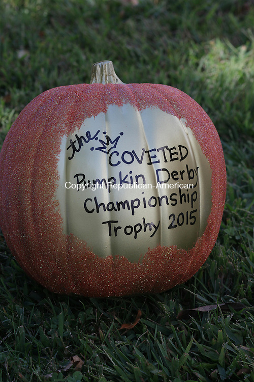 """WOODBURY, CT: 21 Sept. 2015: 09212015CB01: WOODBURY --- The winner of the Pumpkin Derby, to be held at Sunday's Fall Festival in Woodbury, will recieve the """"coveted"""" championship trophy. Prizes will also be awarded for best decoration and best design. Caleb Bedillion Republican-American"""