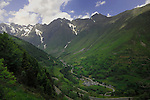 Mountain road descending into French village, Spanish/ French border.Ordesa Park,Pyreneese mountains, Spain