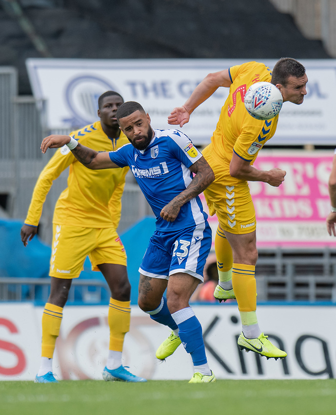 Bolton Wanderers' new signing Jack Hobbs (right) battles for possession with Gillingham's Alex Jakubiak (left) <br /> <br /> Photographer David Horton/CameraSport<br /> <br /> The EFL Sky Bet League One - Gillingham v Bolton Wanderers - Saturday 31st August 2019 - Priestfield Stadium - Gillingham<br /> <br /> World Copyright © 2019 CameraSport. All rights reserved. 43 Linden Ave. Countesthorpe. Leicester. England. LE8 5PG - Tel: +44 (0) 116 277 4147 - admin@camerasport.com - www.camerasport.com