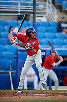 Fort Myers Miracle right fielder Jaylin Davis (24) at bat during a game against the Dunedin Blue Jays on April 17, 2018 at Dunedin Stadium in Dunedin, Florida.  Dunedin defeated Fort Myers 5-2.  (Mike Janes/Four Seam Images)